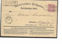 SH 0351. N° Mi 16 C. Encadré DRAMBURG 25' 6 * 9 - 10 S/Carte-Correspondance V. Leipzig - Conf. De L' All. Du Nord