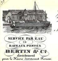 1844 CONNAISSEMENT PARIS LA VILLETTE VIN TRANSPORT PAR EAU Transports Fluviaux   Chalans Pontés Bateaux   Vapeur BERTIN - France