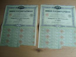 LOT DE 2 ACTIONS DE 500 FRANCS DORIOT FLANDRIN & PARTANT COURBEVOIE 1920 - Automobile