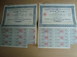 LOT DE 2 ACTIONS DE 100 FRANCS SOCIETE DES CHARBINNAGES DE NINH-BINH  TONKIN - Asie
