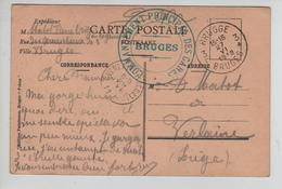 CBPN161/ CP Bruges L'Hospice C.Fortune Brugge 27/6/1919 C.Commandement Principale Des Gares > Verlaine - Storia Postale