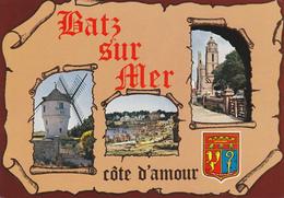 44 BATZ SUR MER / 3 VUES SUR PARCHEMIN - BLASON - Batz-sur-Mer (Bourg De B.)