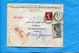 Marcophilie-Lettre Recommandée -Sté Générale Des Huiles De Pétrole-cad 1938 Avec Perforés Semeuse 189+311 Défectueux - Perforés