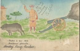 Indochine Vietnam Carte Faite Et Peinte à La Main Ecoles à Feu 1910 Artillerie Coloniale Auxiliaires Annamites Sontay - Viêt-Nam