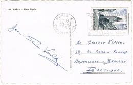 1051 BEFFROI DE DOUAI SEUL SUR CPSM PARIS PLACE PIGALLE - Marcophilie (Lettres)