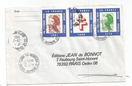 LIBERTE 1FR90+10C PORTE TIMBRE POLITIQUE LETTRE MENTHON ST BERNARD 29.2.1988 - 1982-90 Liberté De Gandon
