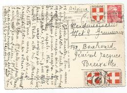 BLASON 1FRX2 ANNULATION BELGE DIAMANT + 1FR+ 15FR GANDON ROUGE CARTE NICE 1951 POUR BELGIQUE AU TARIF - 1941-66 Coat Of Arms And Heraldry