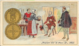 Monnaie D'Or De Henri IV 1607 - Mini Carte Lithographie, Non Circulée - Monete (rappresentazioni)