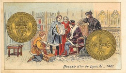 Monnaie D'Or De Louis XI 1461 - Mini Carte Lithographie, Non Circulée - Monete (rappresentazioni)