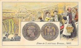 Monnaie: Pièce De 5 Centimes Bronze 1860 - Mini Carte Lithographie, Non Circulée - Monete (rappresentazioni)