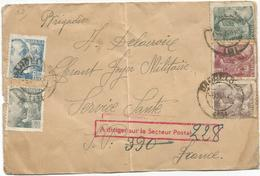 ESPANA DIVERS LETTRE BARCELONA 1940 POUR BRIGADIER SP 390 FRANCE + GRIFFE ROUGE A DIRIGER SP 228 - Marcophilie (Lettres)