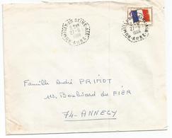 FM DRAPEAU LETTRE C. HEX PERLE ROMILLY SUR SEINE 27.8.1966 AUBE - Franchise Stamps