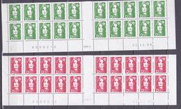 N° 2711 Et 2712 Type Marianne Du Bicentenaire Avec La Lettre D: Belle Série En Blocs De 20 Timbres Coins Datés - 1990-1999