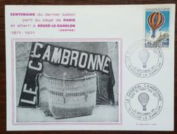 YT Aérien N°45 - BALLONS MONTES - LE GENERAL CAMBRONNE - SOUGE LE GANELON - 1971 - France