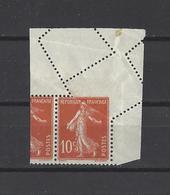 FRANCE .  YT  N° 138  Variété Piquage    Neuf **  1907 - Errors & Oddities