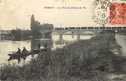 - Val D'oise -ref-708- Persan - Pont Du Chemin De Fer - Passage Du Train- Trains - Pêcheurs - Pêche à La Ligne - - Persan
