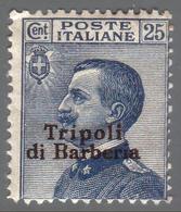 LEVANTE - TRIPOLI DI BARBERIA (Libia) - Francobollo D'Italia Del 1901/09: 25 C. Azzurro - 1909 - Bureaux Etrangers