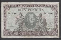 ESPAÑA BILLETE DE 100Pts. Del Año 1940 Circulado En En Muy Buen Estado (C.B. - 100 Pesetas