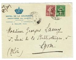 HAUTE SAVOIE ARGENTIERE Caisse D'amortissement N° 253 + 15 C Semeuse N° 189 Sur Lettre Du 21 08 1930 TTB - 1921-1960: Modern Period