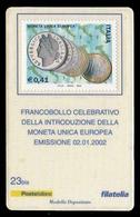 Italia - Tessera Filatelica: Introduzione Moneta Unica Europea - € 0,41- AMPHILEX 2002 - 6. 1946-.. Republic
