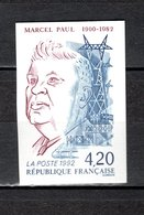 FRANCE  N° 27577a   NON DENTELE  NEUF SANS CHARNIERE  COTE 25.00€   MARCEL PAUL - Imperforates