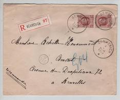 CBPN173/ TP 201(2) Albert Houyoux S/L.recommandée C.Gemmenich 3/1/1923  > BXL C.facteur 514 D - Belgio
