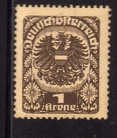 AUSTRIA ÖSTERREICH 1920 1921 COAT OF ARMS EAGLE STEMMA ARMOIRIES 1K MLH - Nuovi