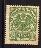 AUSTRIA ÖSTERREICH 1920 1921 COAT OF ARMS EAGLE STEMMA ARMOIRIES 1 1/2K MH - 1918-1945 1a Repubblica