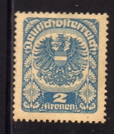AUSTRIA ÖSTERREICH 1920 1921 COAT OF ARMS EAGLE STEMMA ARMOIRIES 2K MH - Nuovi