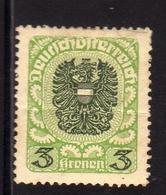 AUSTRIA ÖSTERREICH 1920 1921 COAT OF ARMS EAGLE STEMMA ARMOIRIES 3K MH - 1918-1945 1a Repubblica