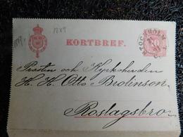 Entiers Postaux, Suède, Stockholm, 1891  (C3) - Entiers Postaux