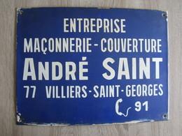 Publicité Plaque Ancienne émmaillée Maçonnerie Entreprise Villiers Saint Georges 77 Seine Et Marne - Reclameplaten