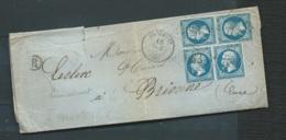 Lac  Affranchie Par Yvert N° 22 X 4  Oblitéré G.C. 583 Bourmont  Juil 1853 - Bpho4403 - 1849-1876: Klassieke Periode