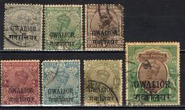 GWALIOR - 1928 - EFFIGIE DEL RE GIORGIO V - FILIGRANA STELLA MULTIPLA - MULTIPLE STARS - USATI - Gwalior
