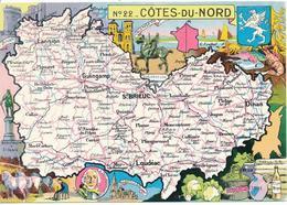 COTES DU NORD (Côtes D'Armor. 22) Géographique. Réédition Carte De J.P. Pinchon. - Non Classificati