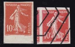 NON DENTELE SEMEUSE YT138IA** + YT138 OBLITERATION HEXAGONALE COURS D'INSTRUCTION - France