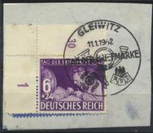 Deutsches Reich 811 Eckrand O Briefstück Sonderstempel Gleiwitz Tag Der Briefmarke - Used Stamps