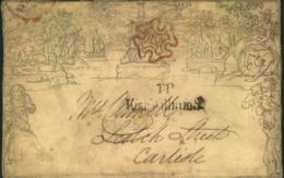 """1840, Front Of 1 Penny MULREADY With Clear Red London Maltese Cross And """"T.P. King Willian St."""" - Grande-Bretagne"""
