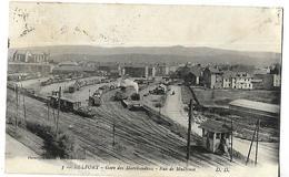 90 BELFORT GARE DE MARCHANDISES RUE DE MULHOUSE 1925 CPA 2 SCANS - Belfort - Ville