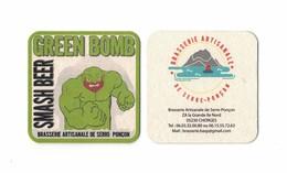 Capsules Ou Plaques De Muselet  SOUS BOCKS  BIÈRE GREEN BOMB  BRASSERIE De SERRE PONCON  RECTO VERSO - Beer Mats