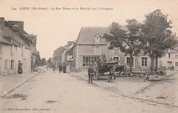 GUER La Rue Haute Et Le Marché Aux Chataignes Animée - Guer Coetquidan