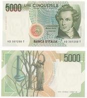 ITALIA 1996 LIRE 5000 VINCENZO BELLINI LETTERA D FDS - [ 2] 1946-… : Repubblica