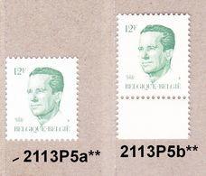 1984 Nr 2113P5a** + P5b** Postfris,witte & Geelachtige Gom. Koning Boudewijn,type Velghe.OBP 9,5 Euro. - 1981-1990 Velghe