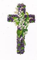 Superbe Croix Découpi Fin XIXe Siècle, Muguet Et Violettes - Religion & Esotérisme