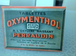 PLAQUE ÉMAILLÉ ?? - Tablette,  OXYMENTHOL PERRAUDIN  16x12 Cm L'émaillo-gravure-PARIS - Brands