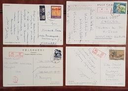 Lot 4x Postcard From Chine China To Hungary 1980-90's - China