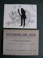 Pochette Complète De 21 CPA  Illustrations A. AMIAUX  GUERRE DE 1914  Satiriques, Guillaume,... . + Souvenir De L'auteur - Weltkrieg 1914-18