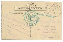 "Le Torpilleur ""ANNAMITE"" Griffe Bleue + Cachet Hexagonal (mal Venu) CUIRASSE-VULCAIN 1925 Sur Carte - Storia Postale"
