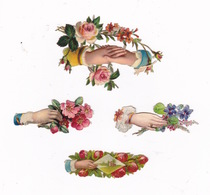 Joli Lot De 4 Découpis Fin XIXe Siècle, Mains, Fleurs - Fleurs