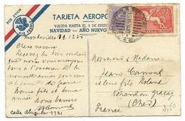 MONTEVIDEO 1936 CARTE AEROPOSTALE De BONNE ANNEE... AIR FRANCE - Uruguay